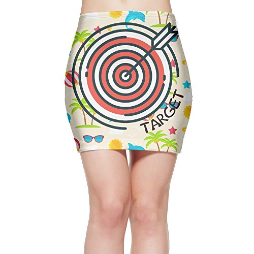 R62f Skirt Archery Target Women's Basic Above The Knee Stretchable Bodycon Pencil Mini Skirt