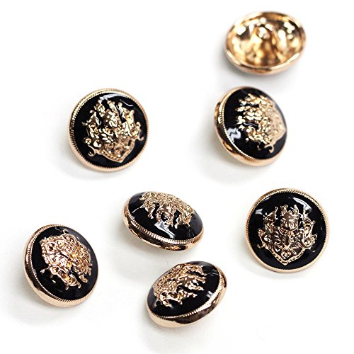 Set of 6 Gold and Black Enamel Buttons, 32 Line