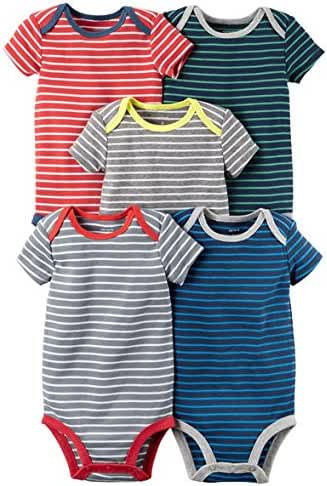 Carters Baby Boys 5 Pack Bodysuits (Baby) (3 Months, Mixed Stripes)