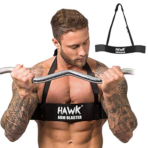 Toner Form - Hawk Sports Arm Blaster for Biceps & Triceps Dumbbells & Barbells Curls Muscle Builder Bicep Isolator for Bodybuilding & Weight Lifting Support for Strength & Muscle Gains (Black)