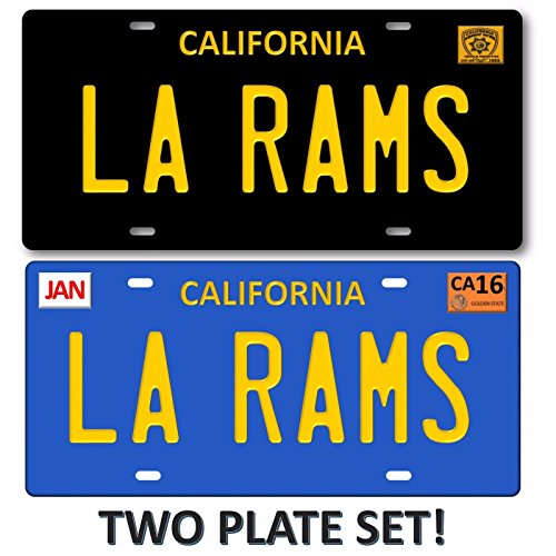 Forever Signs Of Scottsdale LA RAMS Los Angeles California 2 LOT Set NFL Football Team License Plate Tag