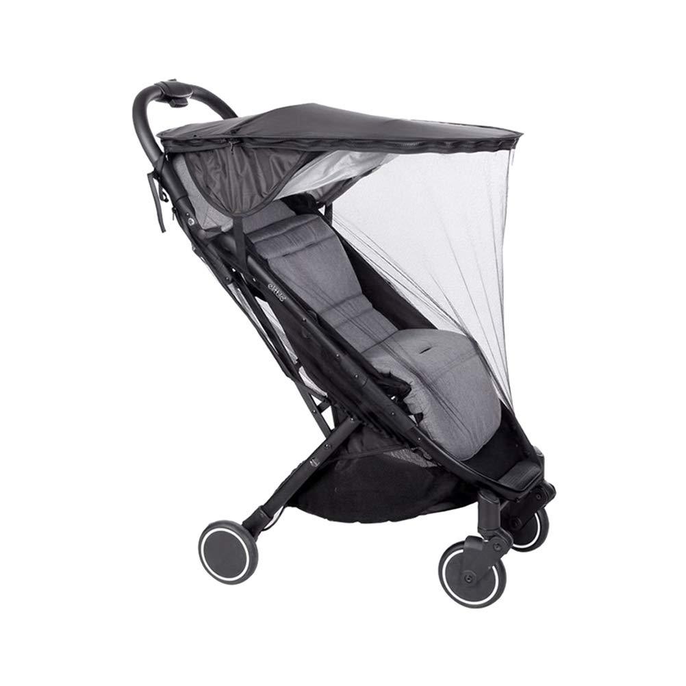 Waterproof Baby Stroller Sunshade Durable Baby Stroller Accessories Baby Stroller Canopy(2-in-1 Sunshade Rainproof Roof (Black) + Mosquito Net)