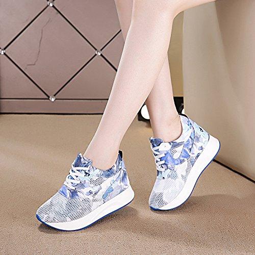 Gâteau amp;G Bas NGRDX Faible Épais Chaussures blue Creux De Respirante Chaussures Femme Baskets Occasionnels gRRdvq