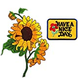 #6: Sun Flowers Have a Nice Day Embroidered Applique Iron on Patches