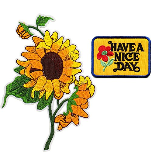 Sun Flowers Have a Nice Day Embroidered Applique Iron on Patches (Patch Flower Case)