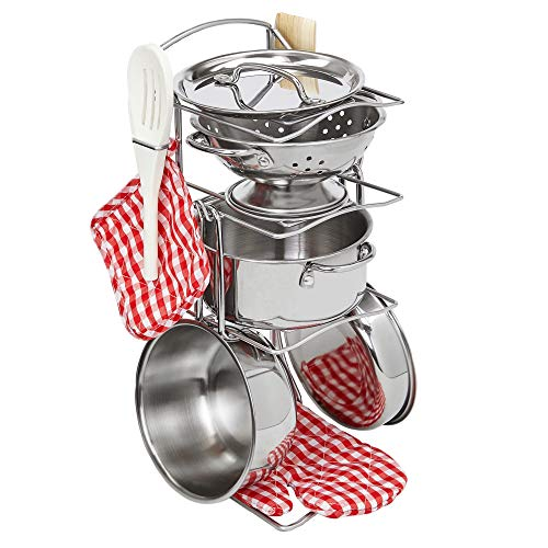 Giantville Toy Kitchen Play Set, 10 Piece Bundle - Stainless Steel Pots, Pans and Skillets, Wooden Spoons and Utensils, Pot Holders and Storage Caddy -