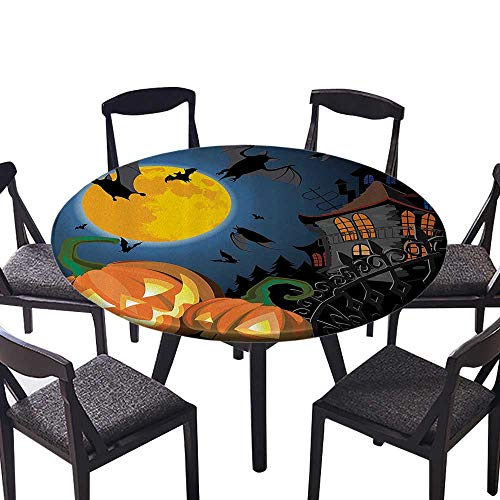 Round Tablecloth Gothic e with Halloween Haunted House Party Theme Trick or Treat or Everyday Dinner, Parties 67