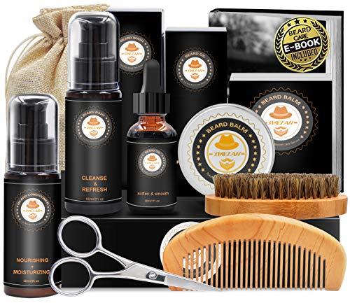 Upgraded Beard Grooming Kit w/Beard Conditioner,Beard Oil,Beard Balm,Beard Brush,Beard Shampoo/Wash,Beard Comb,Beard… 1