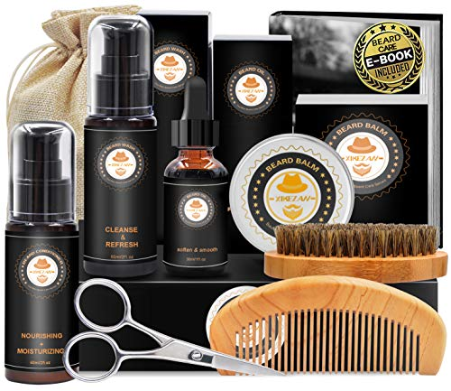 Upgraded Beard Grooming Kit w/Beard Conditioner,Beard Oil,Beard Balm,Beard Brush,Beard Shampoo/Wash,Beard Comb,Beard Scissors,Storage Bag,Beard E-Book,Beard Growth Care Gifts for Men