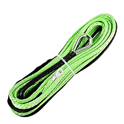 Green 1/4 Inch x 50 Feet ATV UTV Winch Line Synthetic Winch Rope Cable 6400LBs with Thimble for ATV UTV KFI SUV