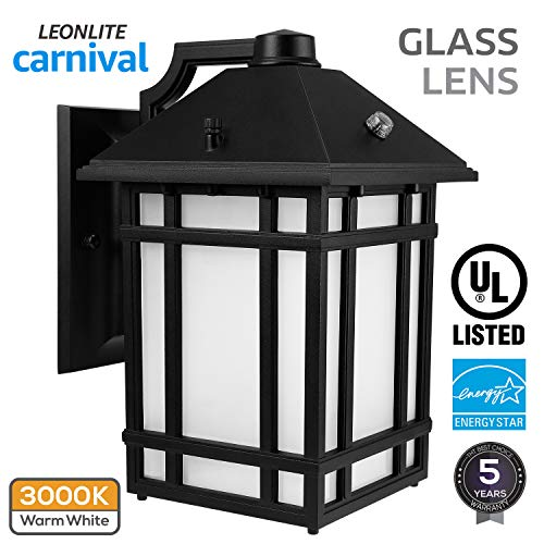 Led Mount Outdoor Wall (LED Outdoor Wall Lantern with Dusk to Dawn Photocell, 14W (60W Equiv.), Glass Lens, Energy Star & ETL Listed Exterior Wall Mount Lighting Fixture, 3000K Warm White, 1000lm, 5 Years Warranty)