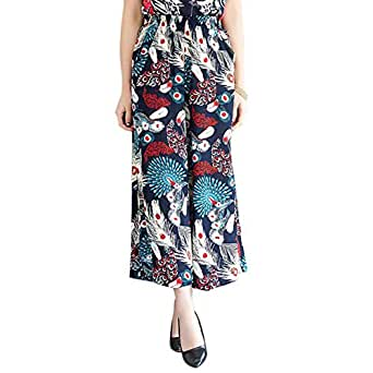 Sweety Nina Indonesian Cotton Boho Straight Trouser Capri National Style Palazzo Floral Loose Wide Leg Pant Floral Print for Women and Girls -Blue Size XL