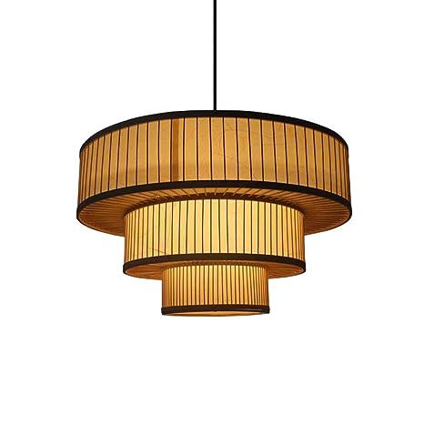 YDYG Luces Colgantes de bambú Retro, lámpara de la casa de ...