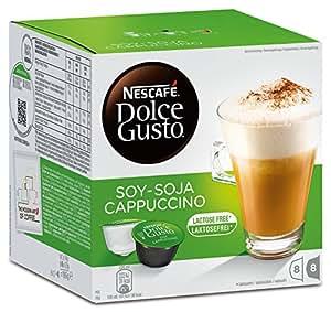 Nescafé Dolce Gusto soja capuchino, Café con leche de soja, soy Leche, libre de lactosa, Cápsulas de Café, 16Cápsulas, (8Raciones)