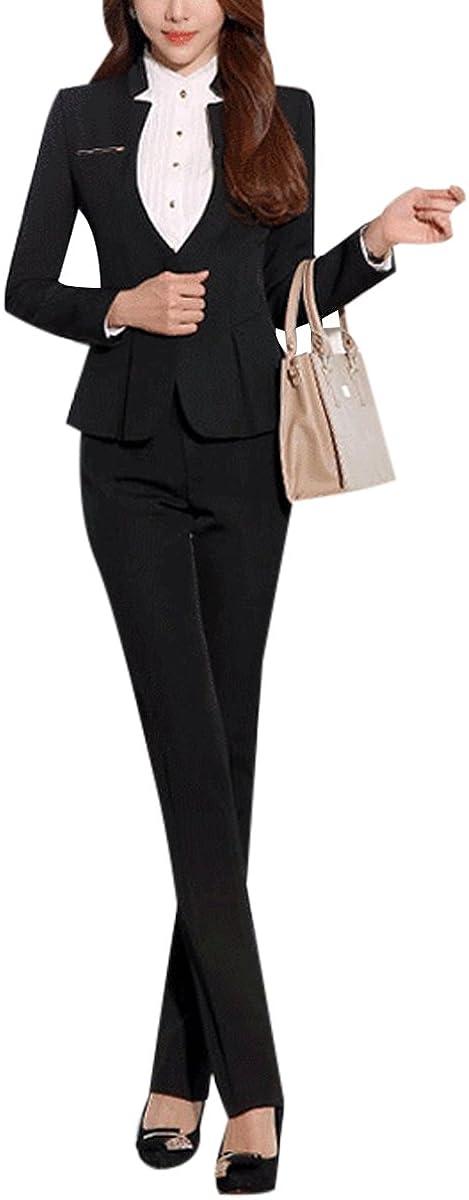 YUNCLOS Womens Elegant Business 2 Piece Office Lady Suit Set Work Blazer Pant