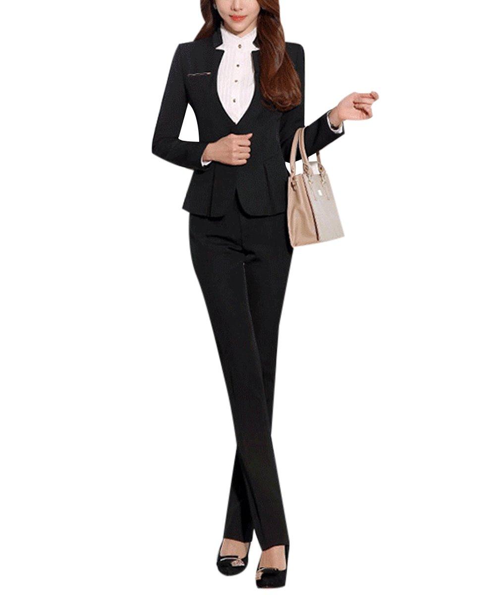 Women's Elegant Business Two Piece Office Lady Suit Set Work Blazer Pant (Suit Set-Black, XL)