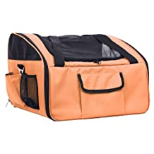 Pet Life Ultra-Lock' Collapsible Safety Travel Wire Folding Collapsible Pet Dog Car Seat Carrier, Orange, One Size
