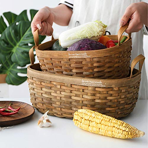 Tongboshi Bread Basket, Hand-Woven Storage Basket (with Handle), Picnic Fruit Bread Basket, Storage Basket, Oval Fruit Basket Three-Piece, Latest Models (Color : 3-Piece Set) by Tongboshi (Image #4)