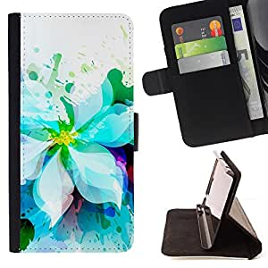 For Sony Xperia Z1 Compact D5503 White Flower Garden Watercolor Drawing Art Style PU Leather Case Wallet Flip Stand Flap Closure Cover