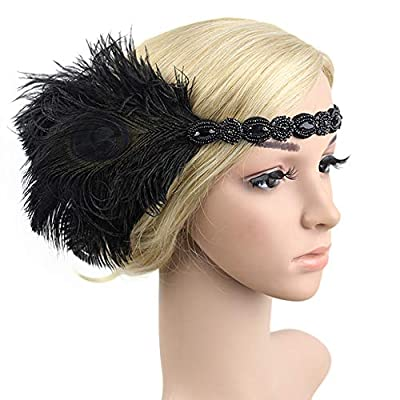 1920s Flapper Headbands Great Gatsby Rhinestone Headpiece with Peacock Feather Jewel Hair Accessories