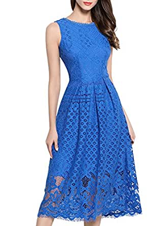VEIIASR Womens Fashion Sleeveless Lace Fit Flare Elegant Cocktail Party Dress (X-Small, Blue)
