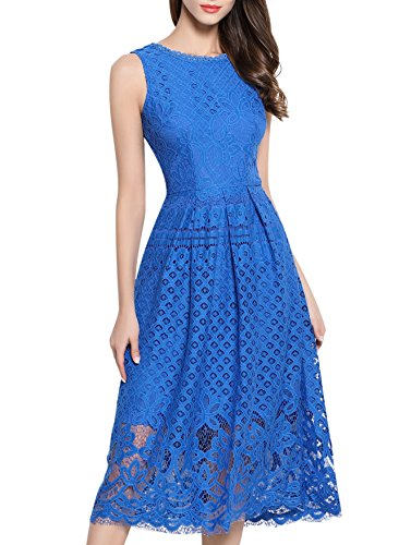 VEIIASR Womens Fashion Sleeveless Lace Fit Flare Elegant Cocktail Party Dress (X-Large, Blue)