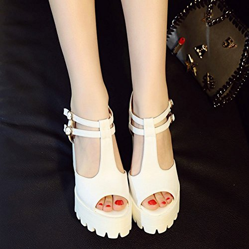 Carolbar Femmes Boucle T-strap Plateforme Peep Toe Sandales À Talons Hauts Blanc