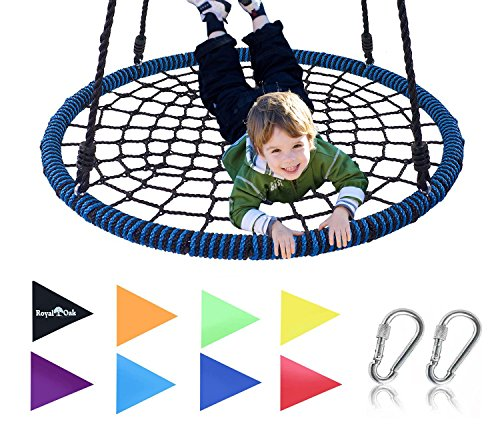 Royal Oak Giant 40 Inch Spider Web Tree Swing, Bonus Protective Swing Cover and Flags, 600 lb Weight...