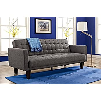 dhp sienna sofa sleeper tufted linen upholstery with tapered wooden legs gray - Sofa Sleeper