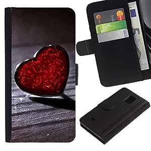 Billetera de Cuero Caso Titular de la tarjeta Carcasa Funda para Samsung Galaxy S5 Mini, SM-G800, NOT S5 REGULAR! / Lonely Heart Red Hearts / STRONG
