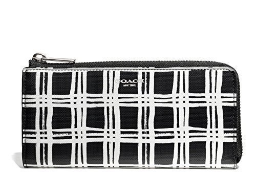 Coach Bleecker Accordion Zip Wallet Black White Multi Coated Canvas (Bleecker Canvas)