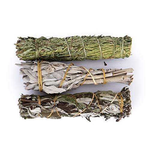 Juniper Ridge White Sage, Mugwort & Siskiyou Cedar Incense Smudge Wand | Aromatherapy | Organic Smudge | No Synthetic Fragrance | Meditation Therapy | Mini Variety | Pack of 3
