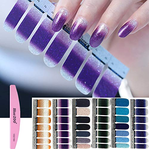 BlueZOO 6 Sheets Shiny Nail Art Stickers, Nail Strips with File (Style 1) (Essie Nail Polish Strips)