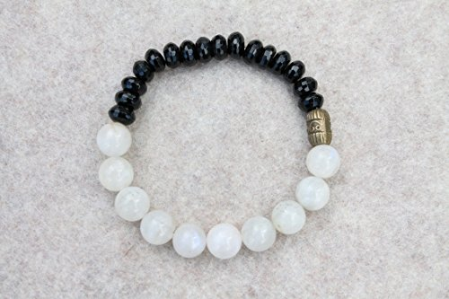 Faceted Black Onyx and White Moonstone Crystal Bracelet Phases of the Moon Ying and Yang - Facet Black Onyx