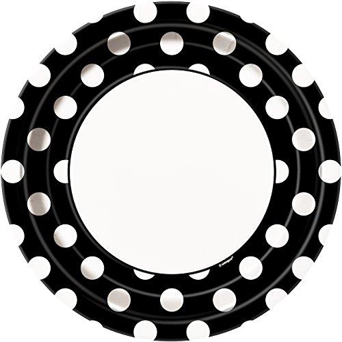 Black Polka Dot Paper Plates, 8ct (Black And White Polka Dot Dinner Plates)