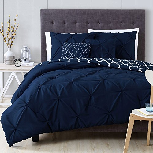 Comforter Sets Premium King Size Set in 5 Piece Adult Luxury Elegant Design (Navy)