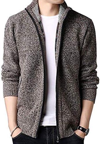 メンズ ニット カーディガン ジップアップ ハイネック 裏ボアカーデ セータージャケット 無地 カジュアル コート 暖かい 大きいサイズ 秋冬服