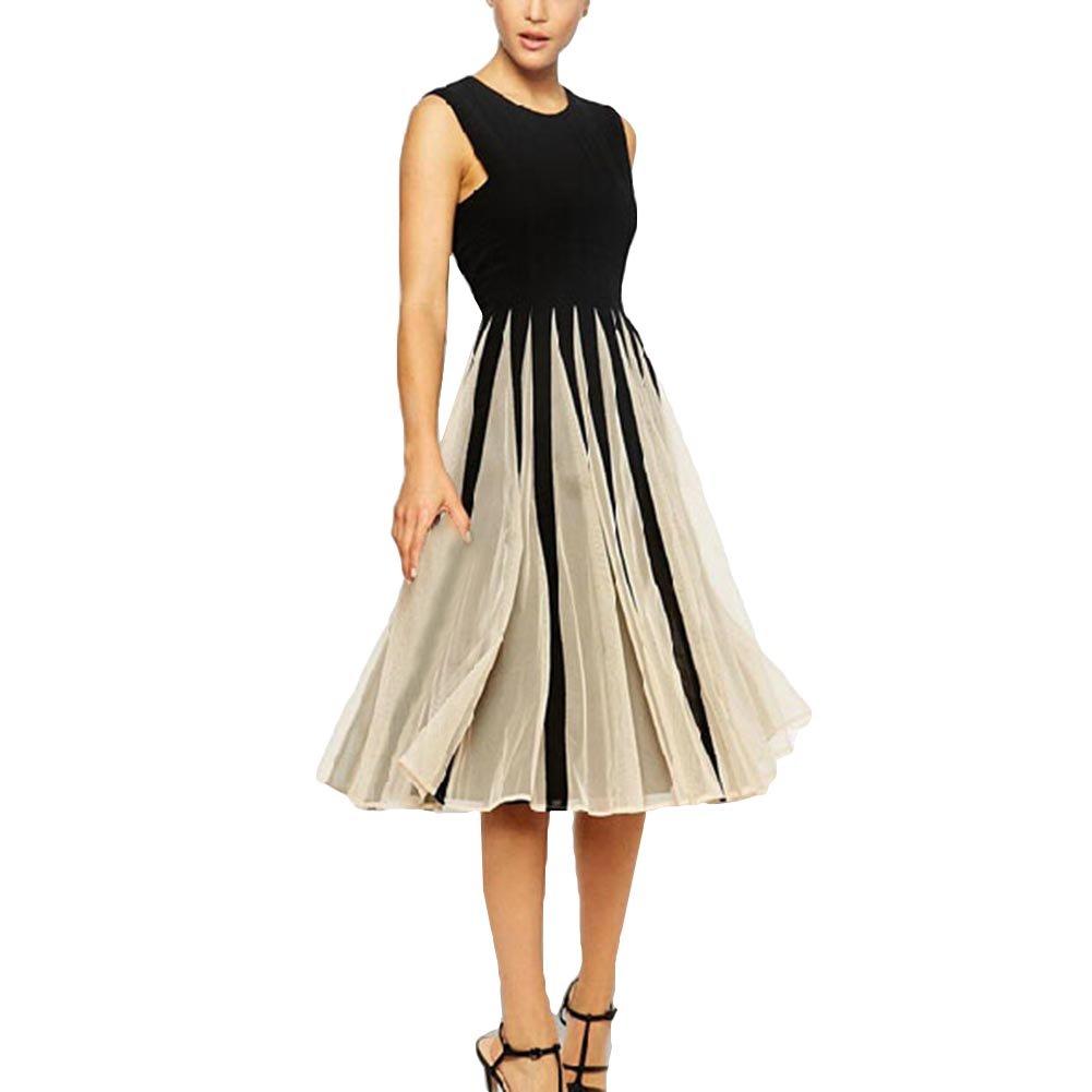Damen kleider knielang Elegant Frauen Kleider Sommer Maxikleider Mesh Patchwork Partykleider Vintage Swing Cocktailkleid S - XXL Meedot T180107WD3-N