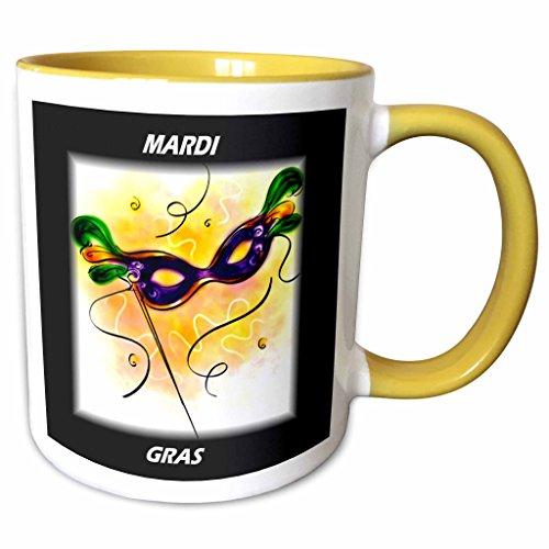 - 3dRose 39017_8 Mardi Gras Feather Mask Ceramic Mug, Yellow/White
