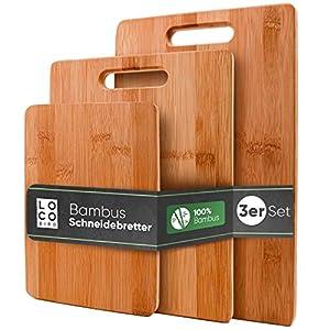 Loco Bird taglieri in bambù massiccio set di 3-33x22 / 28x22 / 15x22cm - Tagliere da cucina in legno - Tagliere in legno… 12