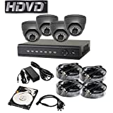 HDVD™ HVD-P-T48E Full HD 1080P 4 Channel HD-TVI CCTV DVR Package with 2.0MP 1080P Cameras Full HD 1080P HDMI Output Night Vision IR Indoor/Outdoor Eyeball Camera 1TB HDD Installed