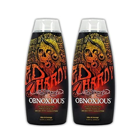 Lot 2 Ed Hardy Obnoxious Indoor Tanning Lotion Accelerator Bronzer Dark Tan Bed (Indoor Tanning Bed Accelerator)