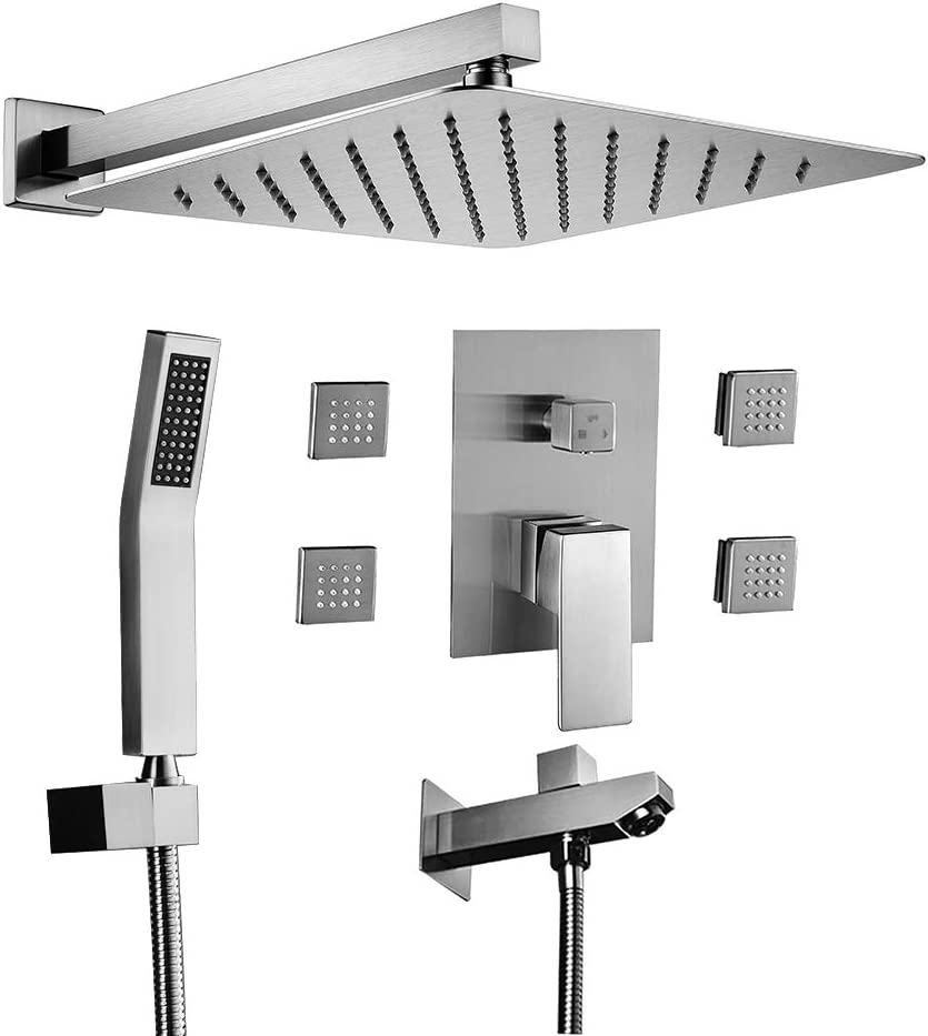 """Shower Faucet Set Valve with Tub Spout and 10/"""" Rainfall Shower Head Wall Mounted"""