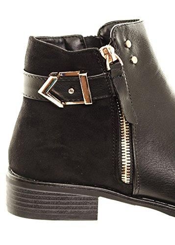 Women's Gold Buckle Zip Flat Chelsea Boots Ladies Comfortable Ankle Boots Shoes Footwear Blackpu hm5wW