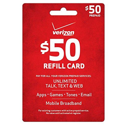 Verizon $50 Prepaid Refill Card (mail delivery) (Verizon Phone Card)