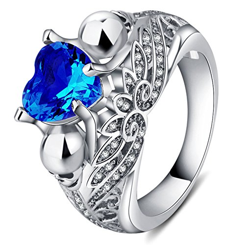TIANTU Sapphire Solitare CZ Ring Engagement Bridal Blue Crystal Ring for Women Girls Size 9