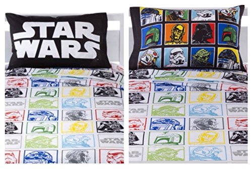 Classic Star Wars Cotton Blend 120 Thread Count 3 Piece Twin Sheet for Kids and Teens Featuring Darth Vader C3PO R2D2 and Other Characters