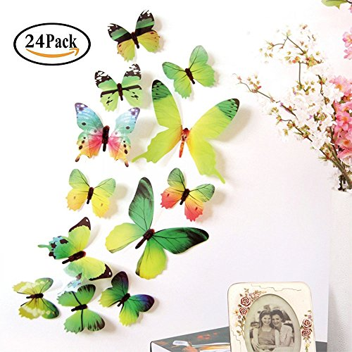 Neele 24 PCS 3D Butterfly Removable Mural Stickers Wall Stickers Decal Wall Decor for Home and Room Decoration (Green)