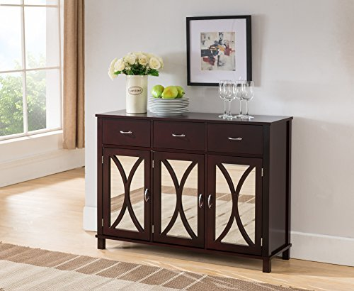 Mirrored Buffet Server (Espresso Wood Sideboard Buffet Server Console Table With Storage Drawers & Mirrored Cabinet Doors)