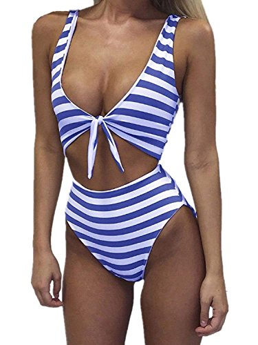 COLO Women's Swimsuits High Waisted One Piece Striped Bathing Suits Sexy Tie Knot Front Bikini M